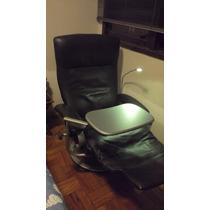 Poltrona Couro Reclinavel Lafer Com Mesa Laptop E Luz