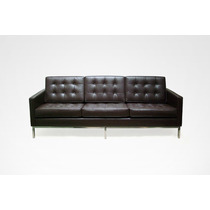 Sofa Fk Cromado 3 Lug Em Couro Natural 1ano De Garantia