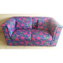 Sofá De Dois Lugares, Florido Azul