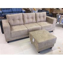 Sofa 3lug +1 Puff Brinde!! Veludo, Chenile, Suede Ou Corino