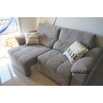 Sofa Extensivel Retratil 3 Lugares Cinza - Etna