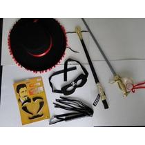 Kit Fantasia Zorro Chicote Mascara Chapeu Espada Bigode