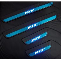 Soleira Com Led Azul Honda Fit Até 05-13 Ha-08fi09l