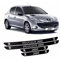Kit Soleira Adesiva Peugeot 206 Preto Fosco 4 Peças Ref 03