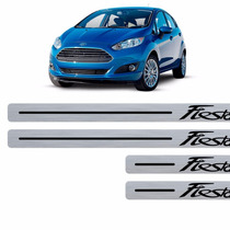 Kit Aplique Soleira New Ford Fiesta Adesivo Textura Aço