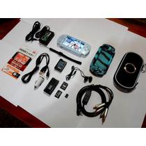Psp Slim 2001 Destravado +12gb De Jogos +case +fone +cabo Tv