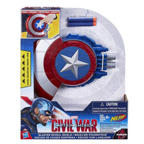 Escudo De Ataque Lançador Nerf Capitão America Guerra Hasbro