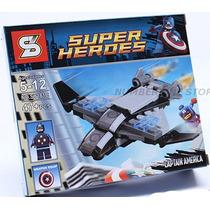 Lego Similar Super Heroes Capitão América Com Avião 47 Pcs.