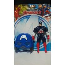 Boneco + Máscara Capitão América Vingadores 25cm
