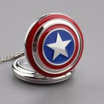 Relógio De Bolso Escudo Capitão América Marvel - Vingadores
