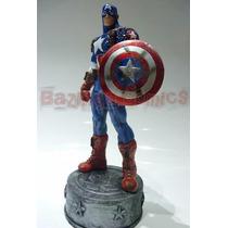 Boneco Capitão América / Estátua Em Resina Escudo Removível