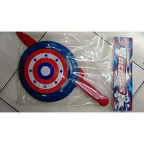 Capitao America Escudo + Espada + Mascara Que Acende