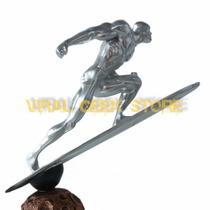 Boneco Surfista Prateado - Estatua Em Resina 31 Cm