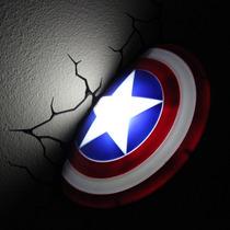 Luminária Avengers Escudo Capitão América - 3d Light Fx