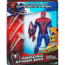 Homem Aranha 25cm +3 Misseis + Falas Marvel Hasbro Lacrado