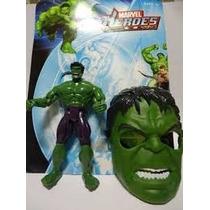 Boneco Marvel Hulk 25 Cm + Mascara Luz De Led No Peito