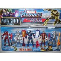 Kit Homem De Ferro 5 Bonecos +7 Acessórios Iron Man 3 Marvel