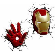 Luminária 3d - Pack - Máscara E Mão Do Homem De Ferro