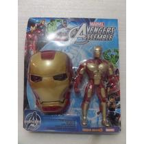 Boneco + Máscara Homem De Ferro Iron Man Vingadores 25cm
