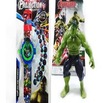 Boneco Incrivel Hulk Avengers Vingadores C Relógio Projetor