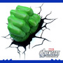 Luminária 3d Punho Hulk Avengers Vingadores
