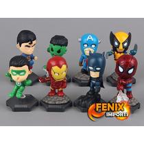 Bonecos Hulk H. Ferro Spider Thor Batman Super Man Capitão A