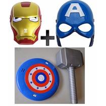 Martelo Thor E Escudo Capitão America + 3 Máscaras Com Luzes
