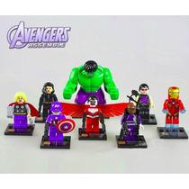 Coleção 8 Bonecos Vingadores Avengers Marvel Hulk Thor Lego