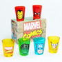 Conjunto Marvel Shot 6 Copos Vingadores Avengers Doses