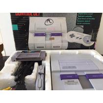 Super Nintendo Na Caixa Original Completo + Fita Mario World