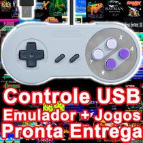 2 Controles Usb Pc Snes - Super Nintendo + Emulador E Jogos