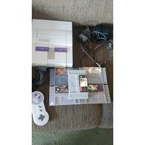 Super Nintendo Completo E 5 Fitas