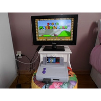 Super Nintendo Baby Com Mario World + 2 Controles Completo