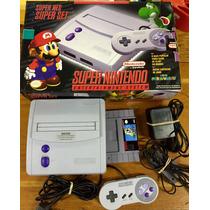 Console Super Nes Baby Fita Do Mario Word 1 Controle Caixa