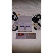 Super Nintendo 2 Controles 2 Jogos Cabo Av E Fonte, Completo