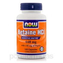 Betaína Hcl 648 Mg Com 150 Mg De Pepsina - 120 Cápsulas Po