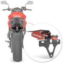 Suporte Placa Hornet Moto Led Articulado Vermelho Rabeta Luz