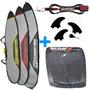 Deck Prancha De Surf + Capa + Quilhas M3 + Leash Surf