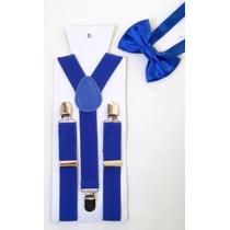 Kit Suspensório Infantil + Gravata Borboleta Azul
