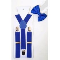 Kit Suspensório + Gravata Borboleta Azul - Mega Promoção