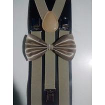 Kit Suspensório+gravata Borboleta Bege Adulto E Infantil