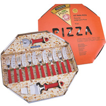 Kit Pizza Completo Tramontina Vermelho 14 Pçs Talheres Inox