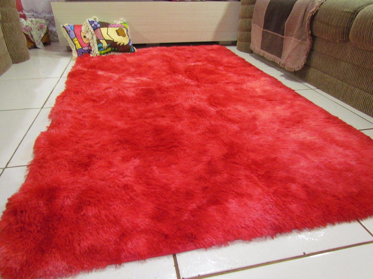 Tapete Peludo Sala Quarto Vermelho Mesclado 1,00×1,50m R  ~ Tapete Redondo Vermelho Quarto