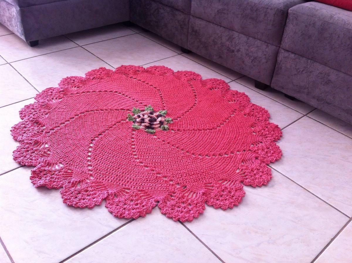 tapete de croch com detalhes em flores margarida car. Black Bedroom Furniture Sets. Home Design Ideas