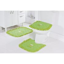 Jogo De Banheiro 03 Pçs Verde Bordado Com Sapo