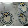 Lindo Jogo De Tapetes Para Banheiro Em Crochê 3 Peças Coruja
