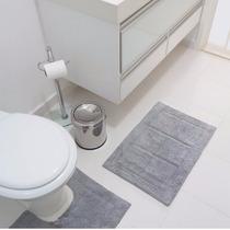Jogo Tapete Para Banheiro 2 Peças Ágra Cinza - Jolitex