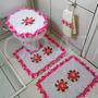 Jogo De Banheiro Com Flores Rosa 3 Peças