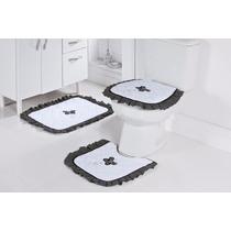 Jogo De Banheiro 03 Peças Preto E Brancobordado Com Flores