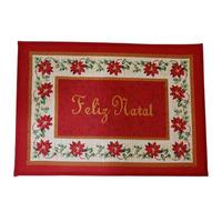 Capacho Tapete Flor Feliz Natal 48x68cm Santini Christmas